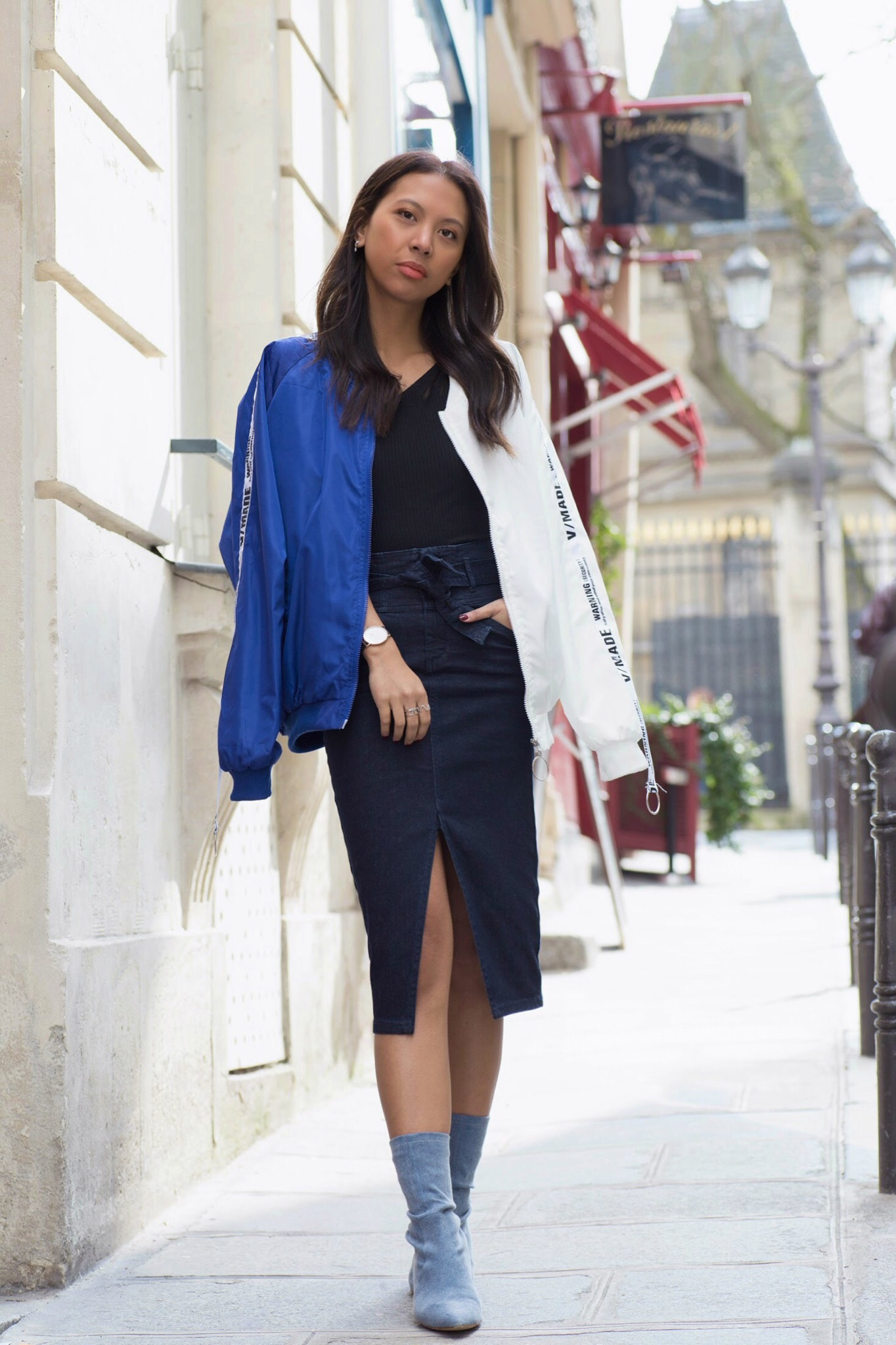 chic look with a bomber jacket - Lindsay blogueuse Paris